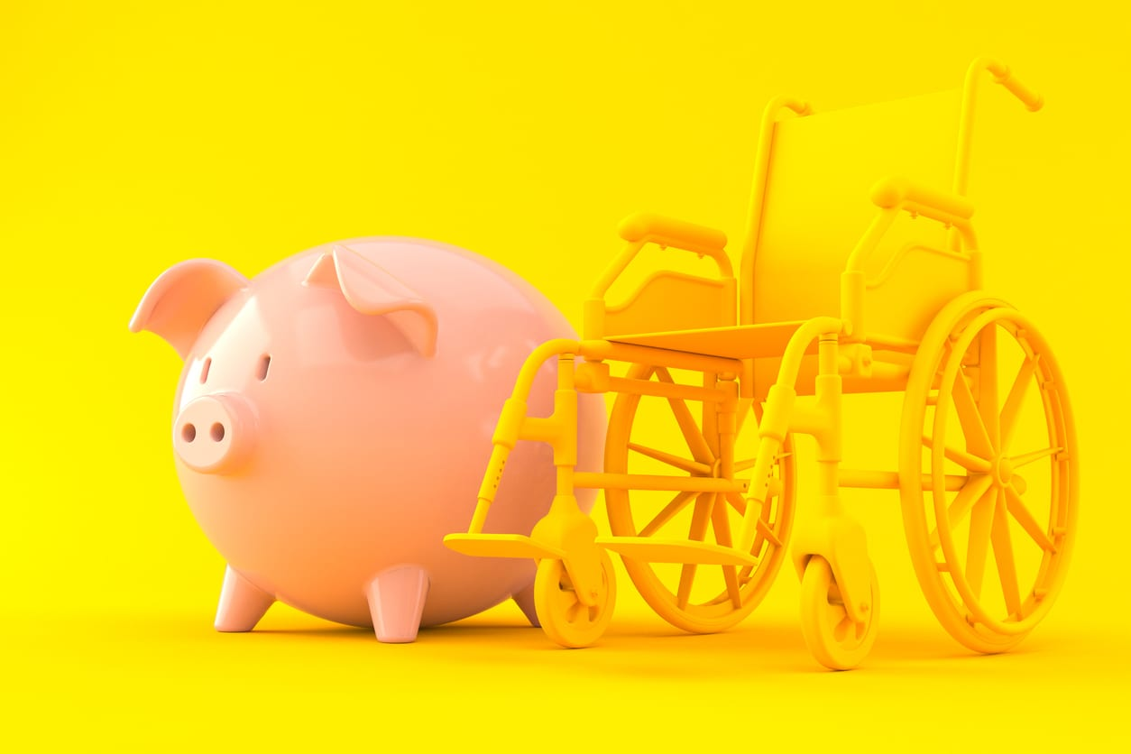 Piggy bank with wheelchair